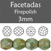 Cristal Checo - Facetada - 3mm - Opaque Luster Green (100 Uds.)