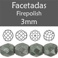 Cristal Checo - Facetada - 3mm - Marbled Grey (100 Uds.)