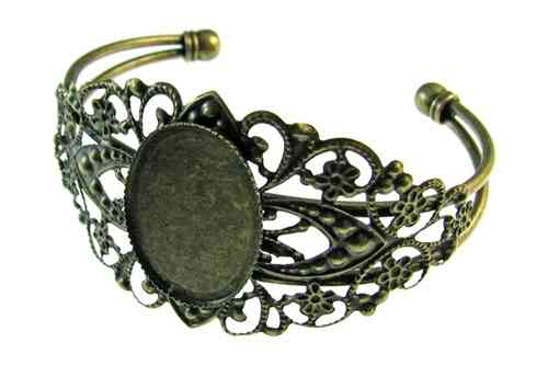 Fornitura - Base Pulsera - Con base camafeo 25x18mm - Ajustable - Bronce Antiguo (1 Uds.)