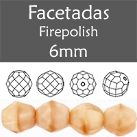 Cristal Checo - Facetada - 6mm - Caramel Coral (25 Uds.)
