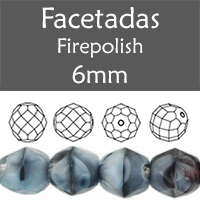 Cristal Checo - Facetada - 6mm - Gray with Black Swirl (25 Uds.)