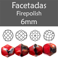 Cristal Checo - Facetada - 6mm - Stripe Red & Black & Brown (25 Uds.)