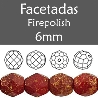 Cristal Checo - Facetada - 6mm - Marbled Gold Oxblood (25 Uds.)
