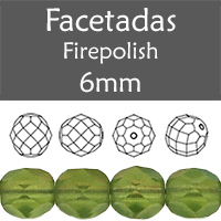 Cristal Checo - Facetada - 6mm - Matte Dark Olivine (25 Uds.)