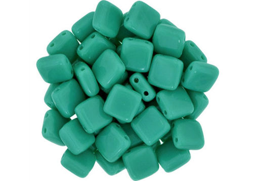 Cristal Checo - Tile - 6x6mm - Opaque Green Turquoise (50 Uds.)