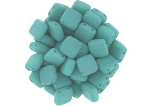Cristal Checo - Tile - 6x6mm - Silk Ancient Turquoise (50 Uds.)