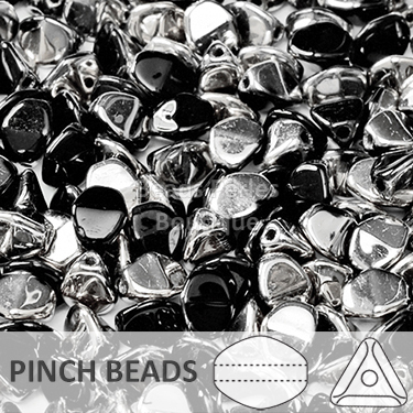 Cristal Checo - Pinch - 5x3mm - Silver & Jet (100 Uds.)