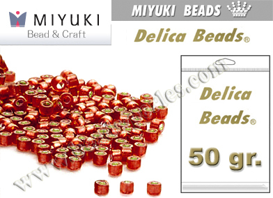 Miyuki - Delica - 11/0 - Silver-Lined Frosted Ruby Red (50 gr.)