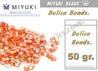 Miyuki - Delica - 11/0 - Silver-Lined Frosted Light Cranberry (50 gr.)