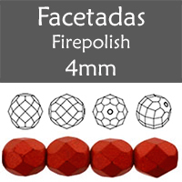 Cristal Checo - Facetada - 4mm - Lava Red (100 Uds.)