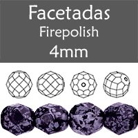 Cristal Checo - Facetada - 4mm - Tweedy Violet (100 Uds.)