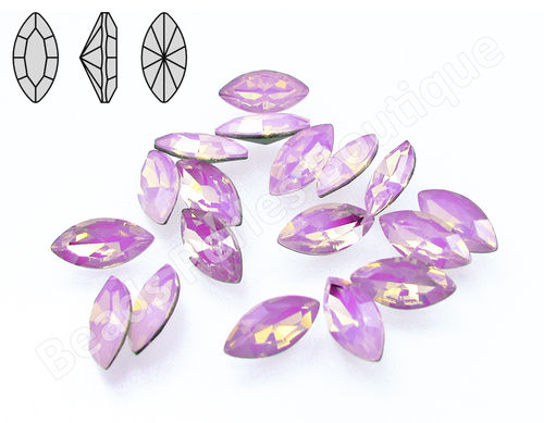Cabuchón - Cristal Pointback - Navette 5x10 mm - Rose Water Opal (2 Uds.)