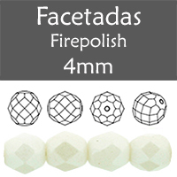 Cristal Checo - Facetada - 4mm - Pearl Shine White (100 Uds.)