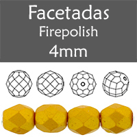 Cristal Checo - Facetada - 4mm - Gold Shine Marigold (100 Uds.)