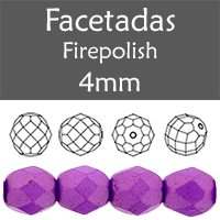 Cristal Checo - Facetada - 4mm - Gold Shine Violet(100 Uds.)