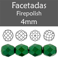 Cristal Checo - Facetada - 4mm - Gold Shine Pine Green (100 Uds.)