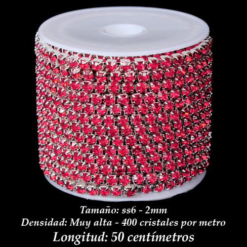 Cadena Cristal ss6 2mm - Indian Pink (50 centímetros)