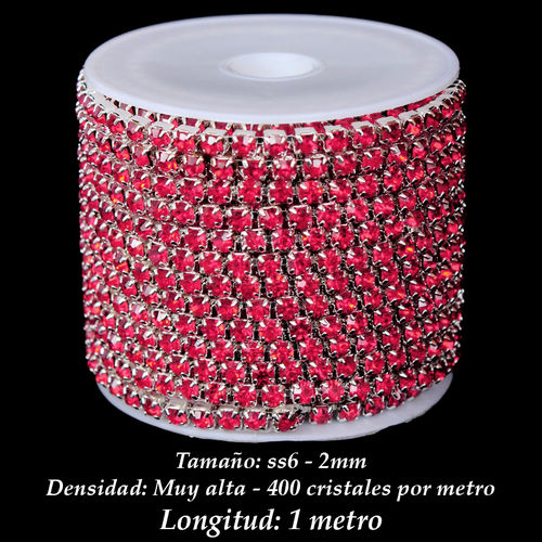 Cadena Cristal ss6 2mm - Indian Pink (1 metro)