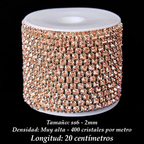 Cadena Cristal ss6 2mm - Light Peach (20 centímetros)