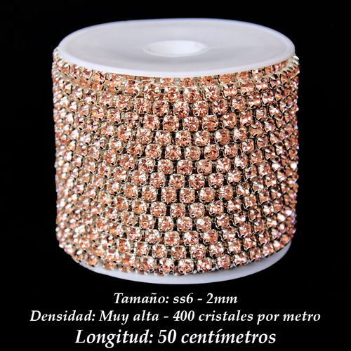 Cadena Cristal ss6 2mm - Light Peach (50 centímetros)