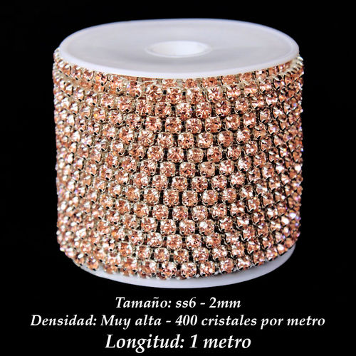 Cadena Cristal ss6 2mm - Light Peach (1 metro)