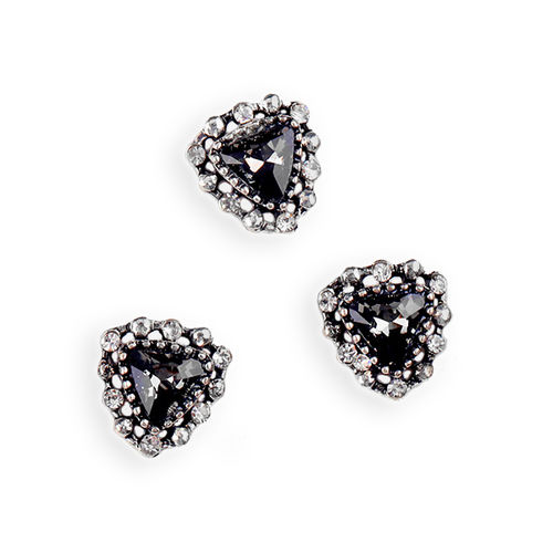 Aplique - Pegar - 10x11mm - Black diamond + plata antigua - 031 (2 Uds.)