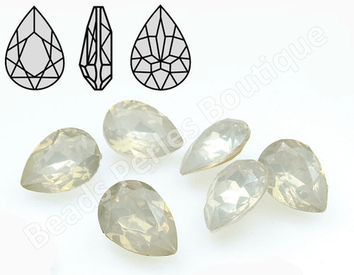 Cabuchón - Resina Pointback - Drop 13x18 mm - White Opal (2 Uds.)