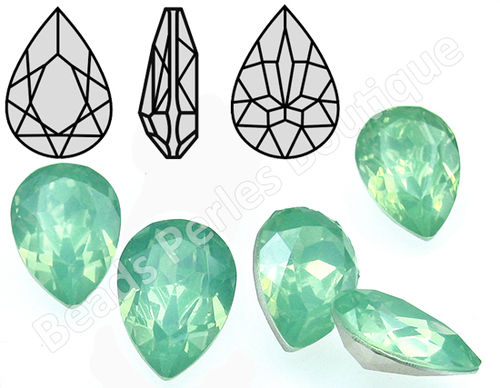 Cabuchón - Resina Pointback - Drop 18x25 mm - Chrysolite Opal (2 Uds.)