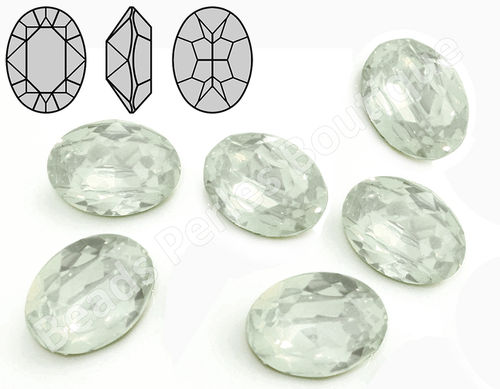 Cabuchón - Resina Pointback - Oval 13x18 mm - White Opal (2 Uds.)
