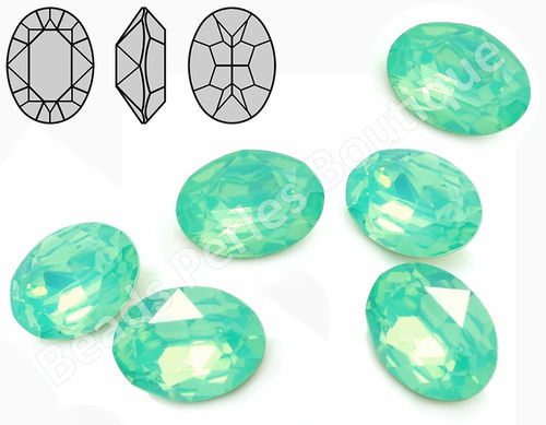 Cabuchón - Resina Pointback - Oval 13x18 mm - Chrysolite Opal (2 Uds.)