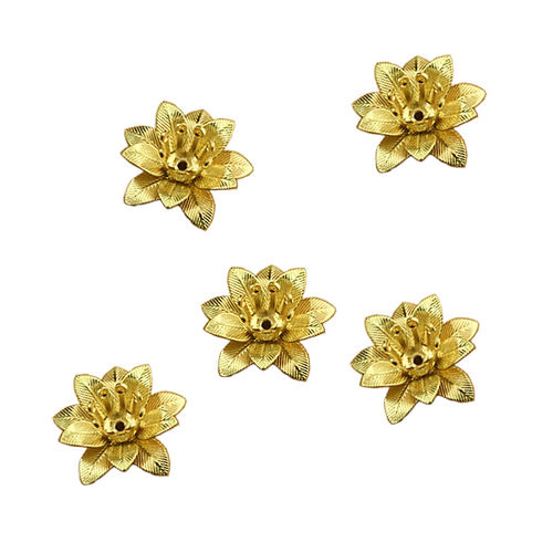 Aplique - Coser o pegar - 16x16mm - Flor metal - Color Oro - 046 (2 Uds.)