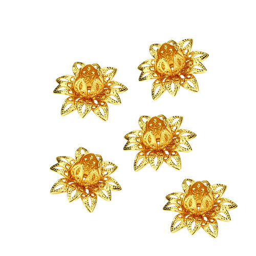 Aplique - Coser o pegar - 16x16mm - Flor metal - Color Oro - 050 (2 Uds.)