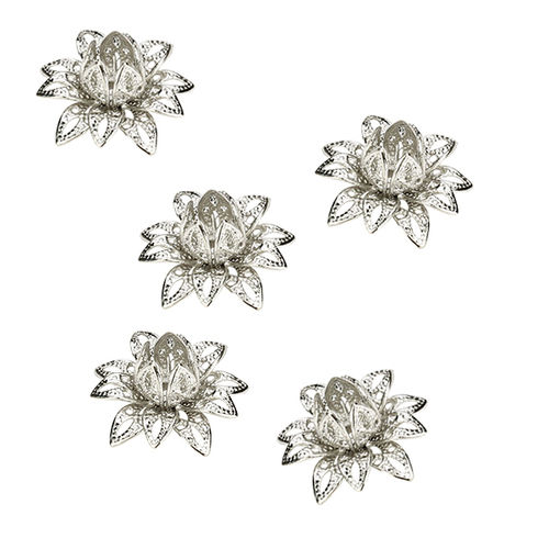 Aplique - Coser o pegar - 16x16mm - Flor metal - Color Plata - 051 (2 Uds.)