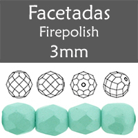 Cristal Checo - Facetada - 3mm - Powdery Pastel Turquoise (100 Uds.)