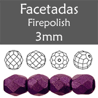 Cristal Checo - Facetada - 3mm - Saturated Metallic Tawny Port (100 Uds.)