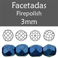 Cristal Checo - Facetada - 3mm - Saturated Metallic Navy Peony (100 Uds.)