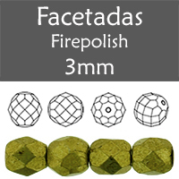 Cristal Checo - Facetada - 3mm - Saturated Metallic Golden Lime (100 Uds.)