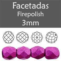 Cristal Checo - Facetada - 3mm - Saturated Metallic Pink Yarrow (100 Uds.)