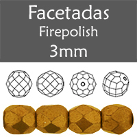 Cristal Checo - Facetada - 3mm - Saturated Metallic Flame (100 Uds.)