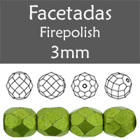 Cristal Checo - Facetada - 3mm - Saturated Metallic Greenery (100 Uds.)