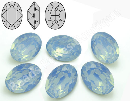 Cabuchón - Resina Pointback - Oval 13x18 mm - Air Blue Opal (2 Uds.)