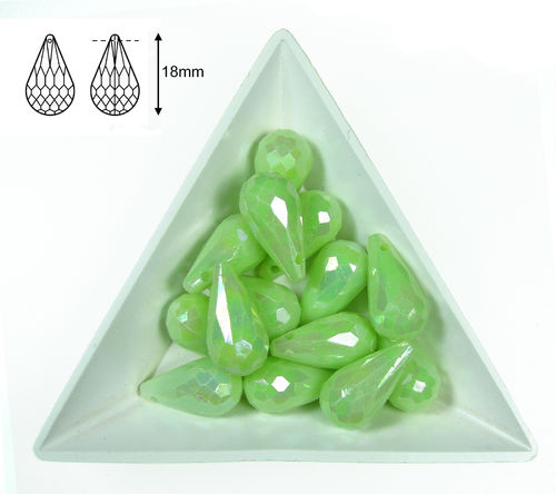 Gota acrilica facetada - 18x10mm - Mint green AB - 04 (2 Uds.)