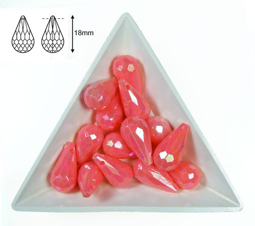 Gota acrilica facetada - 18x10mm - Watermelon AB - 07 (2 Uds.)