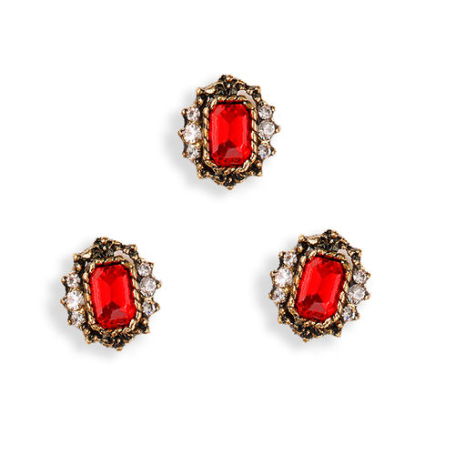 Aplique - Pegar - 11x10mm - Rojo + bronce antiguo - 075 (2 Uds.)