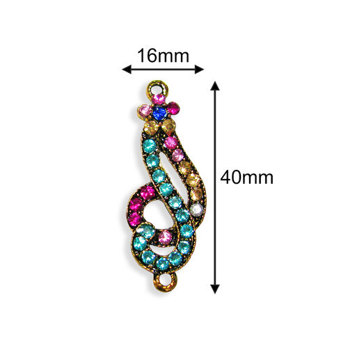 Conector - Strass Multicolor 40x16mm - 076 (1 Uds.)