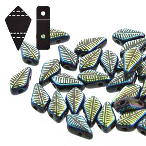 Cristal Checo - Kite Beads - 9x5mm - Jet Laser Feather (5 gr.)