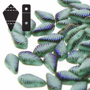 Cristal Checo - Kite Beads - 9x5mm - Green Turquoise Laser Feather (5 gr.)