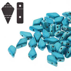 Cristal Checo - Kite Beads - 9x5mm - Aqua Metalust (5 gr.)