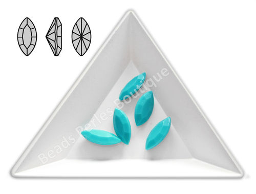 Cabuchón - Acrílico Pointback - Navette 07x15 mm - Turquoise (4 Uds.)