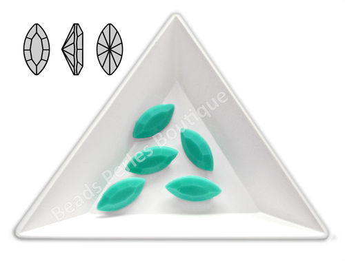 Cabuchón - Acrílico Pointback - Navette 07x15 mm - Green Turquoise (4 Uds.)